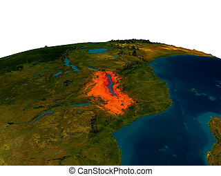 Malawi on model of planet Earth - Malawi highlighted in red...