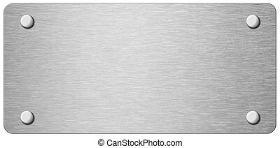 narrow metal plate with rivets isolated 3d illustration