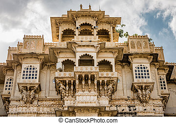 Udaipur castle India. - Outside wall with windows at Udaipur...