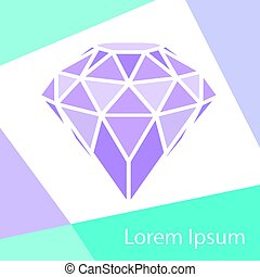 Geometrical purple diamond with frame background. Vector...