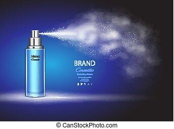 Spray bottle, ice toner container on blue background Premium...