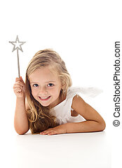 Little angel fairy with magic wand smiling - isolated