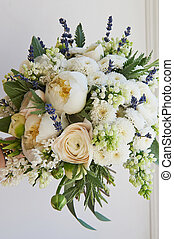 The light delicate bouquet . in green and white. Ranunculus...