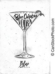 Blue lagoon cocktail lettering cranberry juice, cointreau,...