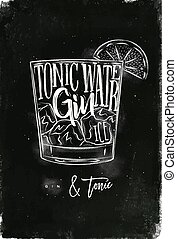 Gin tonic cocktail chalk - Gin tonic cocktail lettering...