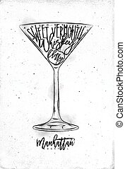 Manhattan cocktail lettering angostura, sweet vermouth,...