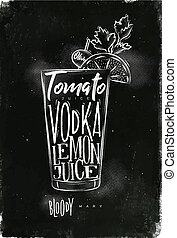 Bloody mary cocktail chalk - Bloody mary cocktail lettering...