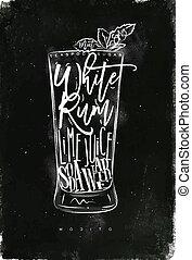 Mojito cocktail chalk - Mojito cocktail lettering teaspoon...
