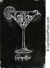 Cosmopolitan cocktail chalk - Cosmopolitan cocktail...