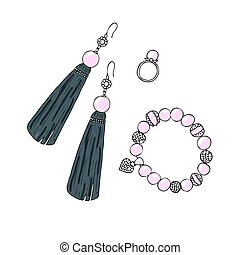 Women jewelry earrings, ring and bracelet with pearls.