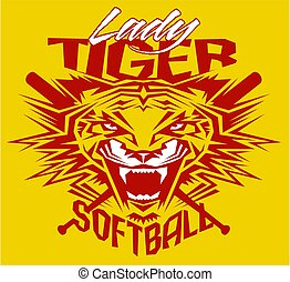 lady tiger softball - tribal lady tiger softball team design...