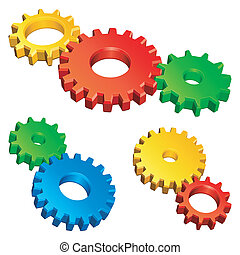 Color gears. - Three groups of color gears.
