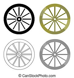 Cart-wheel icon cartoon. Singe western icon from the wild...