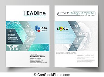 The vector illustration of the editable layout of two A4 format covers with triangles design templates for brochure, flyer, booklet. Chemistry pattern. Molecule structure. Medical, science background.
