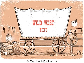 Wild west wagon background for text.