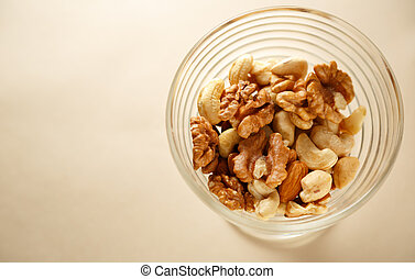 Glass bowl of mixed nuts