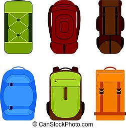 Camping backpacks vector icon