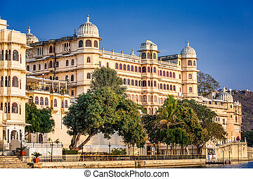 Udaipur castle India. - Udaipur castle shot from the boat at...