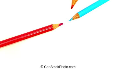Color pencils spread around, stop-motion - Color pencils...