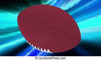 Football on blue abstract looping animated background