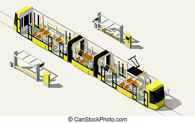 Vector isometric low poly low-floor tram
