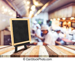 somando, cavalete, restaurante, madeira, quadro-negro, espaço, conteúdo, fundo,  menu, Borrão, tabela, cópia, abertos, seu, cozinha