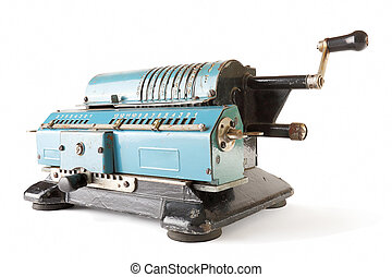 calculating machine over white - Old blue calculating...