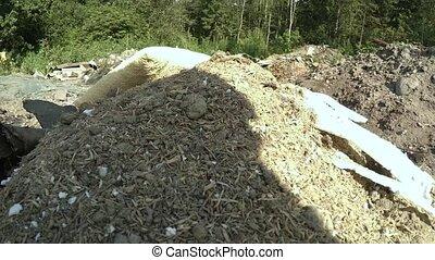 Wheelbarrow with debris. 4K. - Wheelbarrow with debris. Shot...