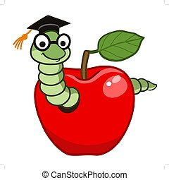Bookworm in apple - Vector hand drawn cartoon character...