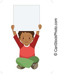 Little boy holding up blank sigh template - Vector hand...