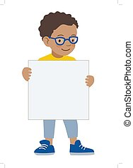Little boy holding blank sigh template - Vector hand drawn...
