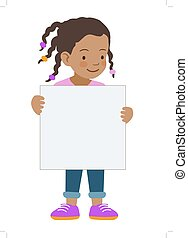 Little girl holding blank sign template - Vector hand drawn...
