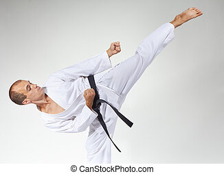 Master beats a high kick with a black belt