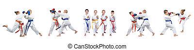 Children in karategi are training blows on white background collage