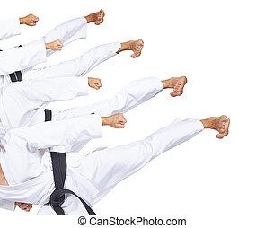 Kicks foot sportsman is beating in karategi collage
