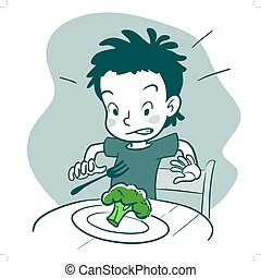Picky eater - Vector monochrome hand drawn cartoon character...