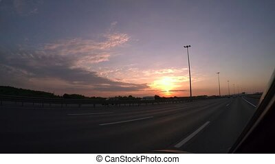Evening sunset, highway, traveling by car. 4K. - Evening...