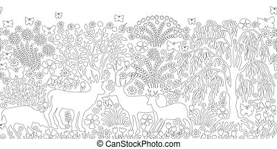 Magic summer forest. - Black and white coloring page with...