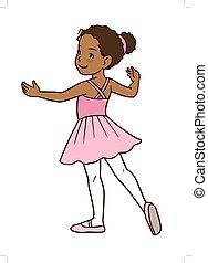 Ballerina_Girl - Vector cartoon hand-drawn illustration of a...