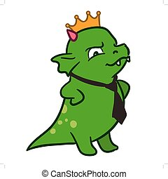 Cartoon monster dragon corporate boss in tie and crown -...