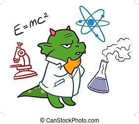 Cute cartoon dragon monster scientist - Cartoon vector hand...