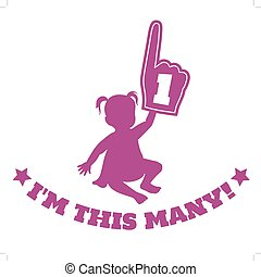 Baby girl silhouette with foam hand - Vector silhouette...