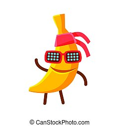 Happy smiling banana fruit in sunglasses and bandana. Colorful character cartoon vector Illustration