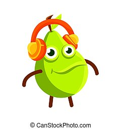 Cute cartoon happy green pear in headphones, colorful character vector Illustration
