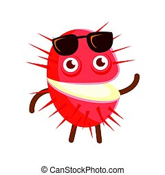 Happy smiling rambutan with sunglasses, colorful character cartoon vector Illustration