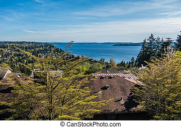 Puget Sound Landscape In Spring - A view of the Puget Sound...
