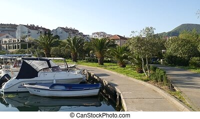 Boat dock in Montenegro, Budva and Tivat.