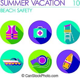 Lifeguard beach safety icon set. Summer. Vacation -...