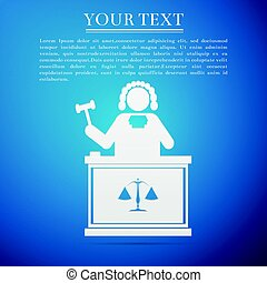Judge with gavel flat icon on blue background. Vector...