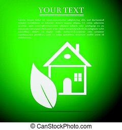 Eco House flat icon on green background. Vector Illustration